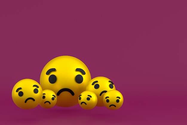 Ícone triste emoji de reações do facebook render, símbolo de balão de mídia social em fundo vermelho