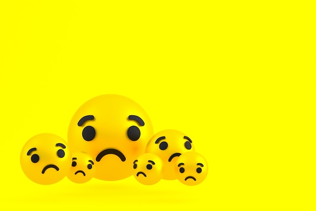 Ícone triste emoji de reações do facebook renderização em 3d, símbolo de balão de mídia social em amarelo