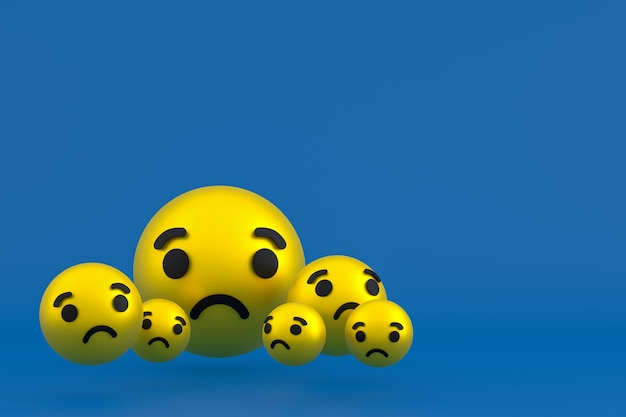 Ícone triste renderização de emoji de reações do facebook, símbolo de balão de mídia social em fundo azul