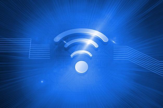 Ícone wifi brilhante sobre fundo azul