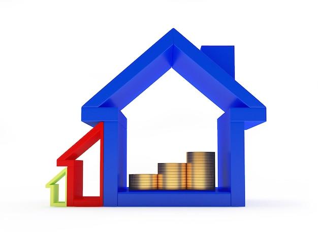 Ícones coloridos da casa de vários tamanhos com moedas dentro.