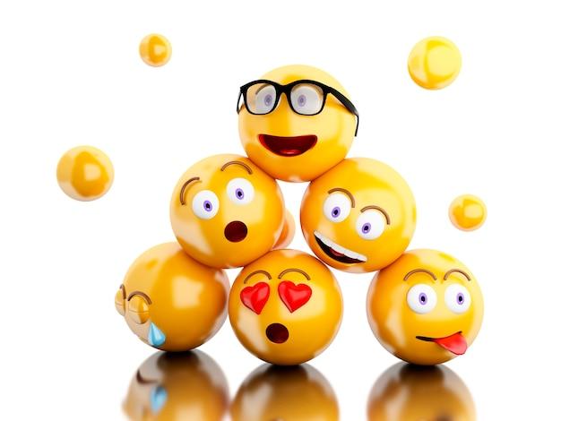 Ícones de 3d emojis com expressões faciais.