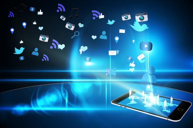 Ícones de aplicativo de smartphone flutuante