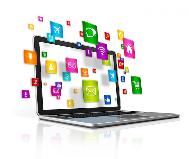 Ícones de aplicativos voadores e laptop isolado