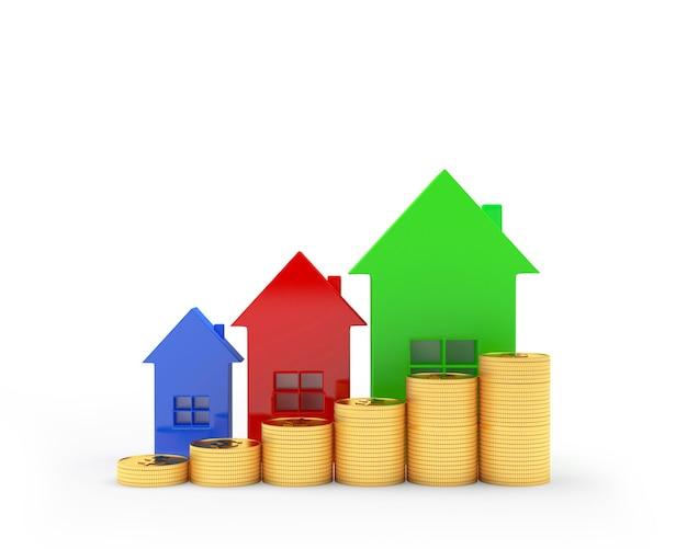Ícones de casas coloridas com moedas como um gráfico