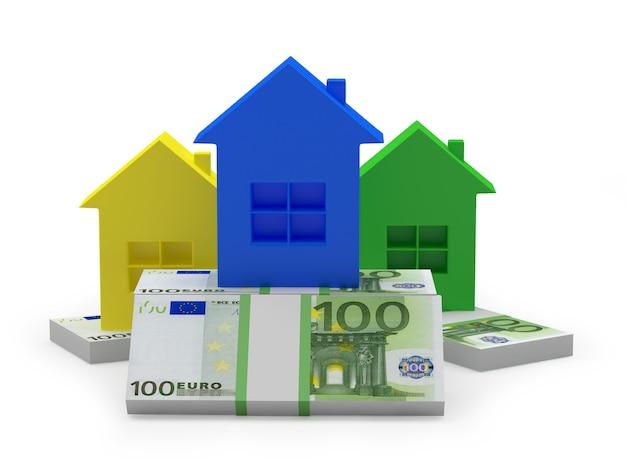 Ícones de casas coloridas em pilhas de notas de euro