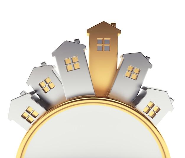 Ícones de casas de ouro e prata dispostos em um círculo