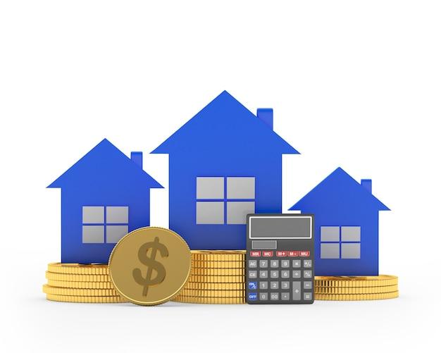 Ícones de casas em pilhas de moedas de dólar com calculadora