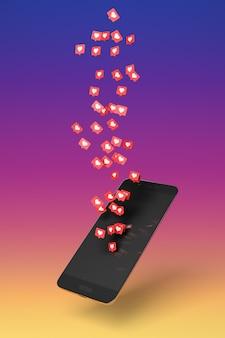 Ícones de coração branco sobre fundo vermelho, representando curtidas em redes de mídia social, saindo de uma tela do celular em fundo de cores gradiente. ilustração 3d