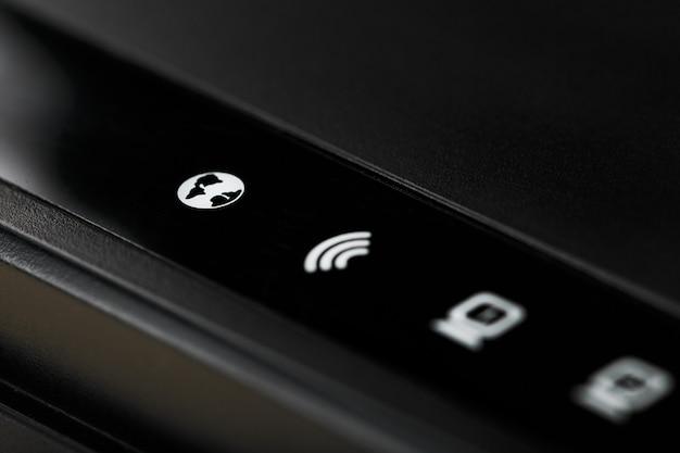 Ícones de indicação do roteador wi-fi para controle macro. ícones de rede dsl, internet, wlan, wps, lan e alimentação.
