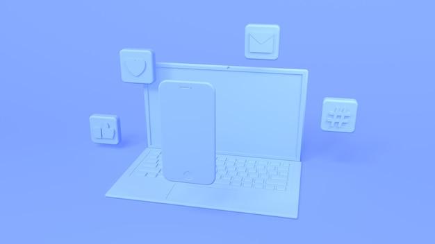 Ícones de laptop e renderização 3d de smartphone