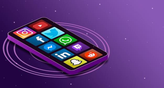 Ícones de logotipo de mídia social na tela do telefone 3d
