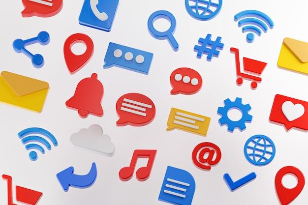 Ícones de mídia social definem renderização 3d