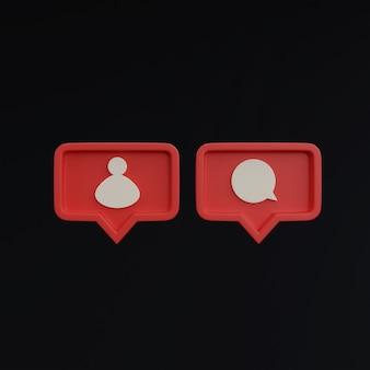 Ícones de mídia social em fundo preto