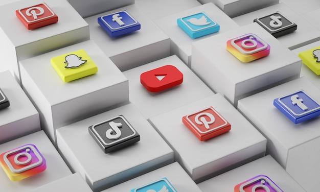 Ícones de mídia social mais populares em cubos brancos
