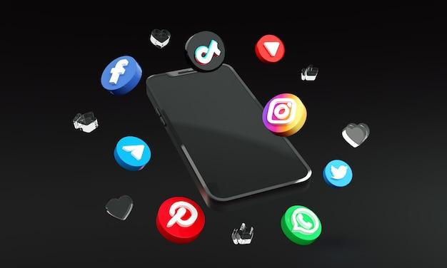 Ícones de mídia social para marketing digital com smart phone 3d premium photo