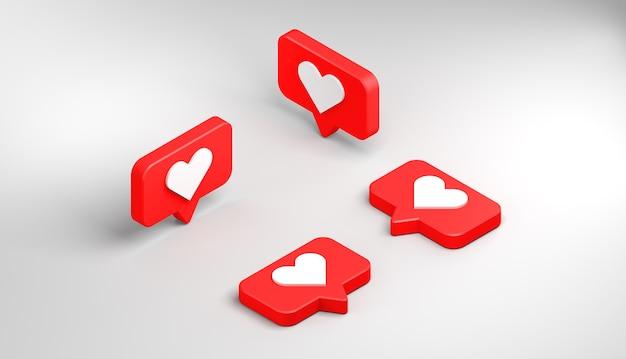Ícones de notificação de mídia social com coração. gostar. ilustração 3d. vista isométrica.
