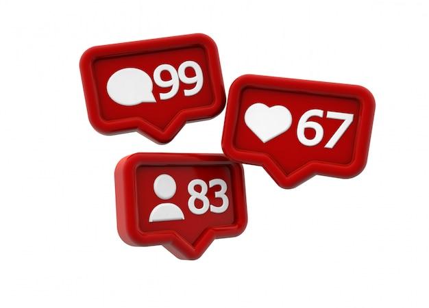 Ícones de notificações de mídia social para comentários, curtidas e seguidores