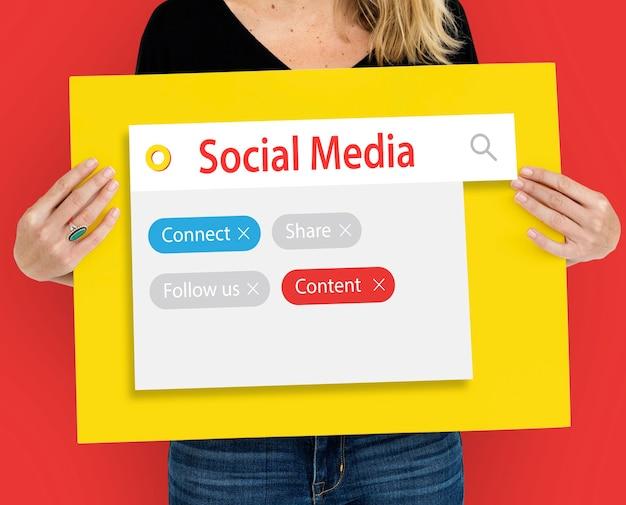 Ícones de palavras gráficas de mídia social de comunicação digital