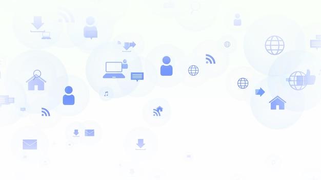 Ícones de rede em fundo simples. estilo dinâmico elegante e luxuoso para negócios, modelo corporativo e social, ilustração 3d