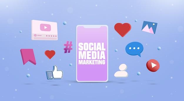 Ícones de redes sociais com um conceito de marketing de mídia social em smartphone 3d