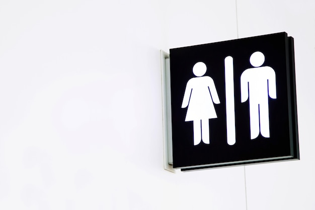 Ícones de sinalização de banheiro definem sinais de banheiro de homem e mulher para banheiro
