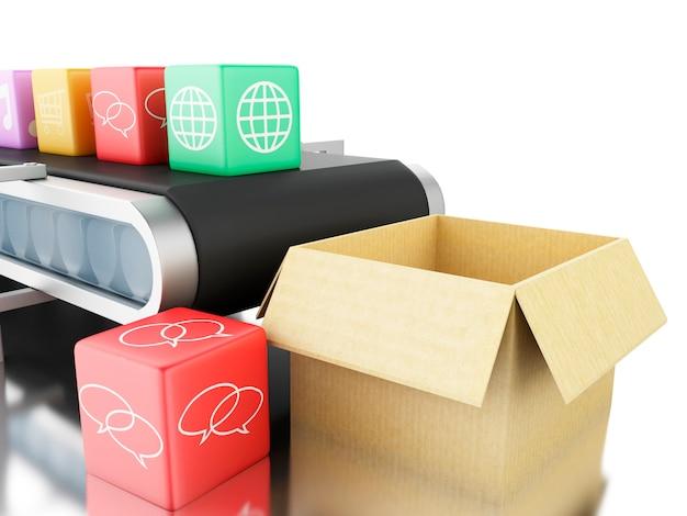 Ícones do app 3d na correia transportadora.