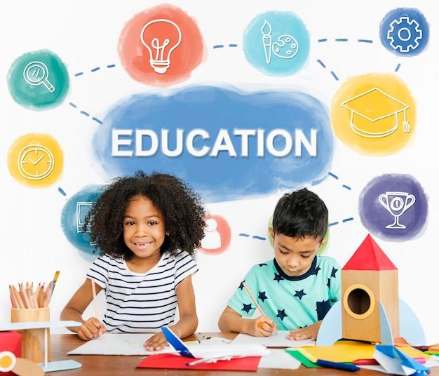 Ícones do espaço educacional do kids fun camp