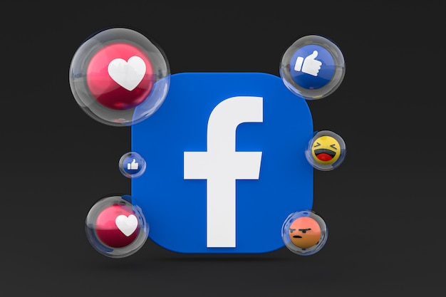 Ícones do facebook com emojis 3d render