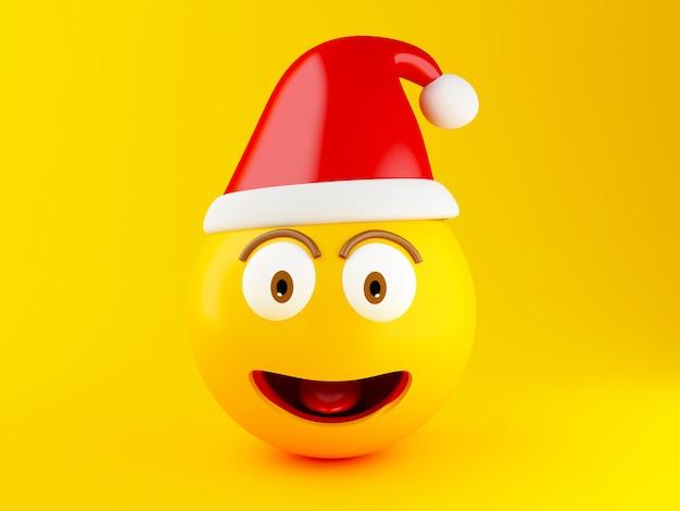 Ícones do natal 3d emoji com chapéu de santa.