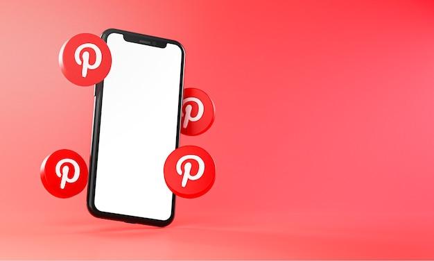 Ícones do pinterest em torno da renderização 3d do aplicativo de smartphone
