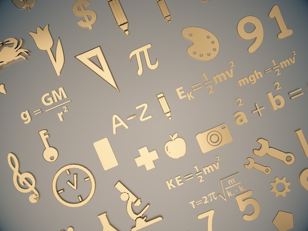 Ícones dourados sobre a aprendizagem das crianças no espaço limpo.