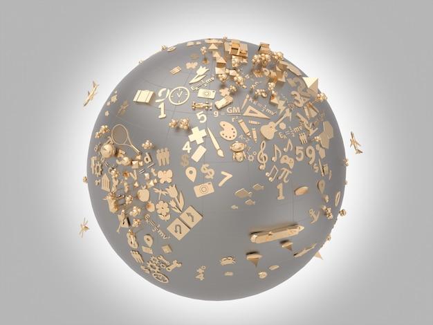 Ícones dourados sobre a aprendizagem das crianças sobre o símbolo do globo.