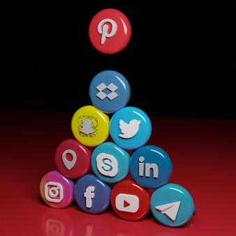 Ícones e endereço de mídia social 3d