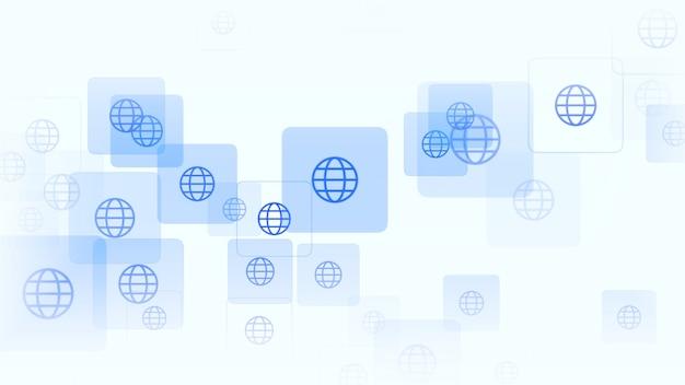Ícones globais em fundo de rede simples. estilo dinâmico elegante e luxuoso para negócios, modelo corporativo e social, ilustração 3d