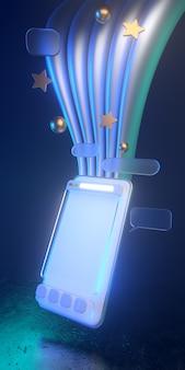 Ícones holográficos do smartphone 3d com luz não ofuscante - ilustração 3d do uso social dos meios do smartphone. todos vivem em uma atmosfera futurista. 3d render.