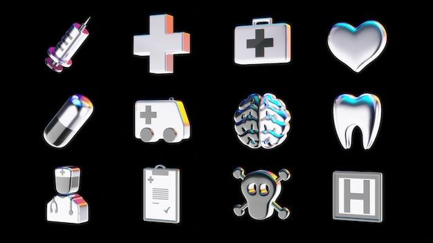 Ícones médicos - ilustração 3d