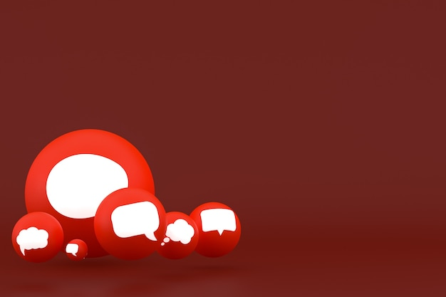 Ideia, comentário ou raciocínio, reações emoji renderização 3d, símbolo de balão de mídia social com ícones de comentário de fundo