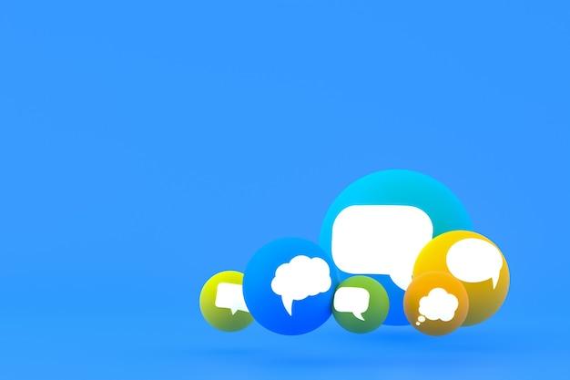 Idéia, comentário ou raciocínio, reações emoji renderização 3d, símbolo de balão de mídia social com ícones de comentário