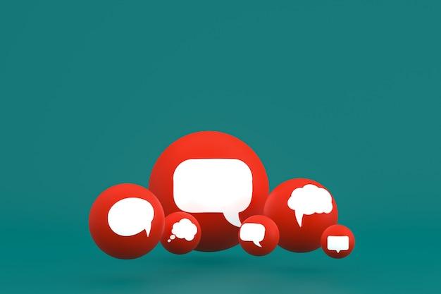 Idéia, comentário ou raciocínio, reações emoji renderização 3d, símbolo de balão de mídia social com ícones de comentários de fundo padrão