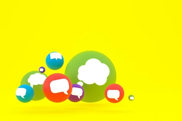 Idéia, comentário ou raciocínio, reações emoji renderização 3d