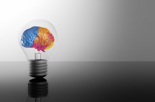 Ideia criativa com renderização em 3d de cérebro colorido e lâmpada de ideia