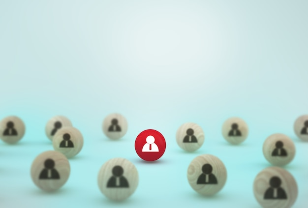 Idéia criativa do conceito de empregado de negócios de gestão e recrutamento de recursos humanos. organizar a esfera de madeira em fundo azul