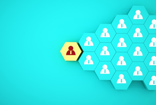 Ideia criativa do conceito de gestão de recursos humanos e conceito de empregado de negócios de recrutamento. organizar o hexágono amarelo