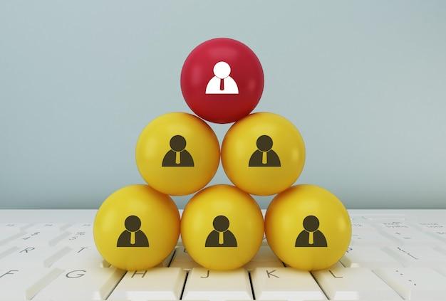 Idéia criativa do conceito de gestão de recursos humanos e conceito de equipe de negócios de recrutamento, vinculando entidades, hierarquia e rh