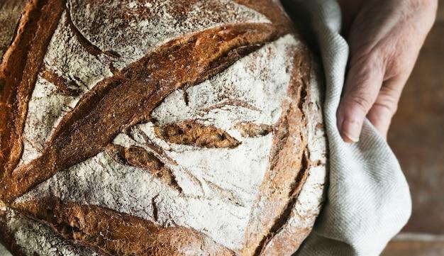 Idéia da receita da fotografia do alimento do pão do sourdough caseiro