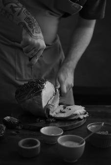 Idéia da receita da fotografia do alimento do presunto cozido