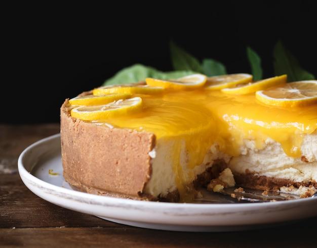 Ideia da receita da fotografia do alimento dos chessescake do limão