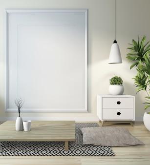 Ideia da sala de estar japonesa com lâmpada, moldura, mesa baixa preta na parede da sala branca no chão de madeira. renderização em 3d