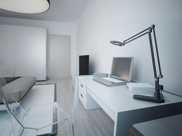 Idéia de área de trabalho em um quarto moderno com mesa de design branca e cadeira de vidro transparente.